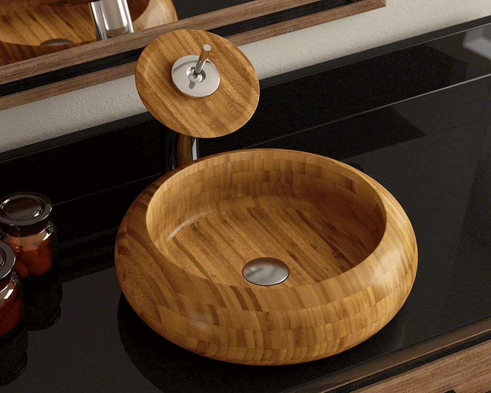893 Lifestyle Image: 100% Renewable Bamboo Vessel One Bowl Round Bathroom Sink