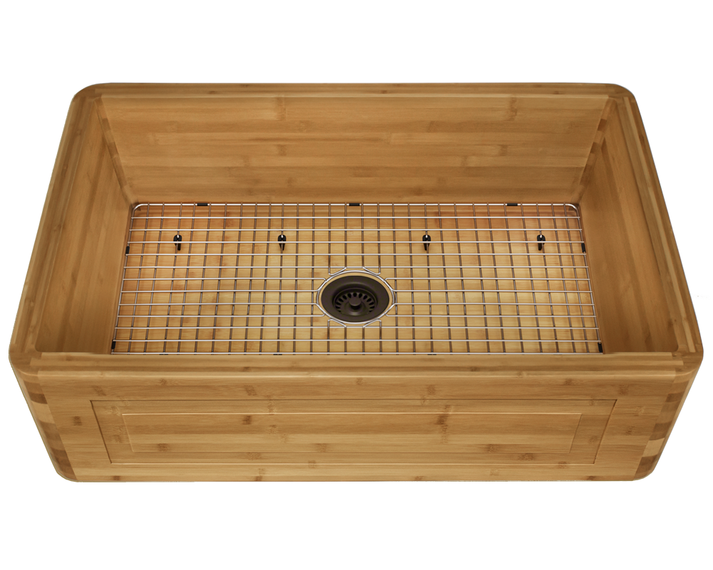 894 Alt Image: 100% Renewable Bamboo Rectangle One Bowl Apron Kitchen Sink