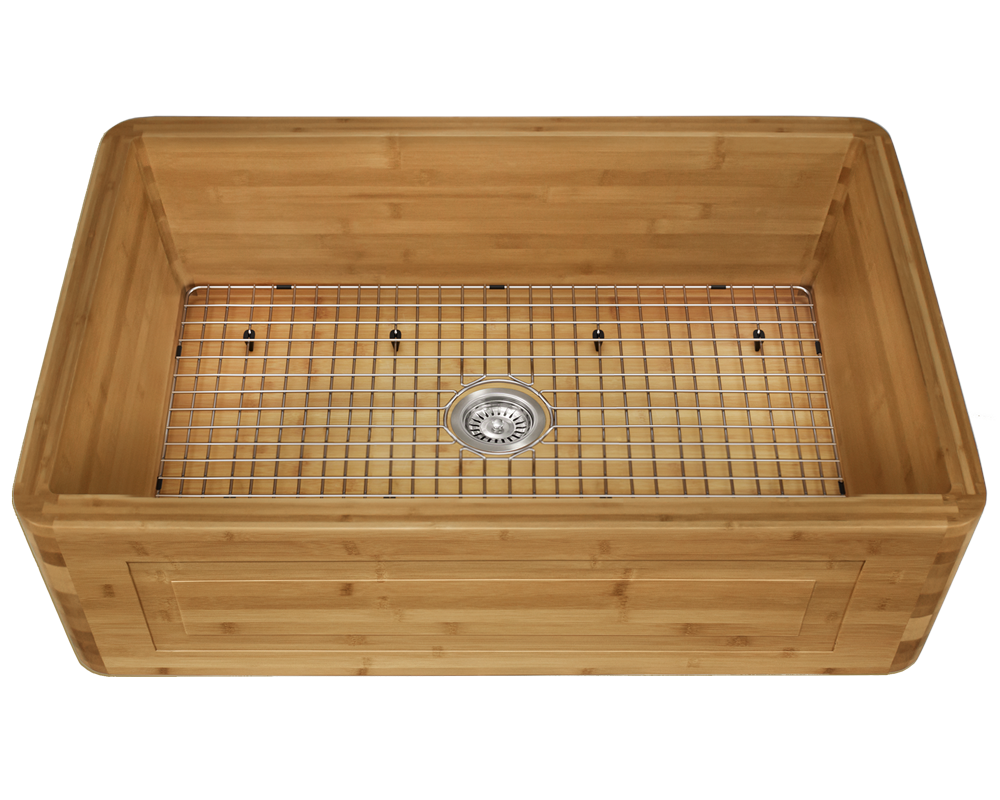 894 Alt Image: 100% Renewable Bamboo Apron Rectangle One Bowl Kitchen Sink