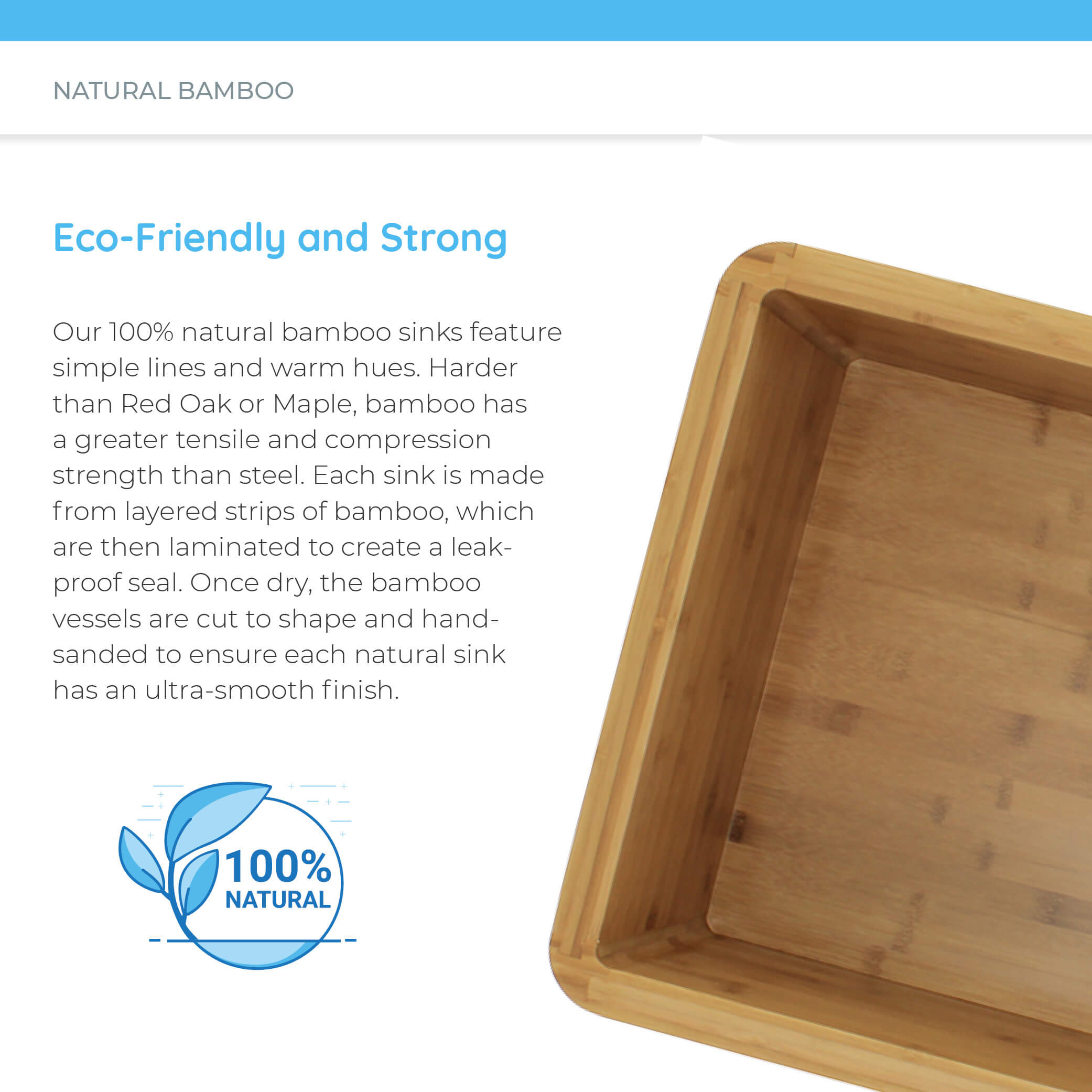 Eco-friendly natural bamboo apron sink