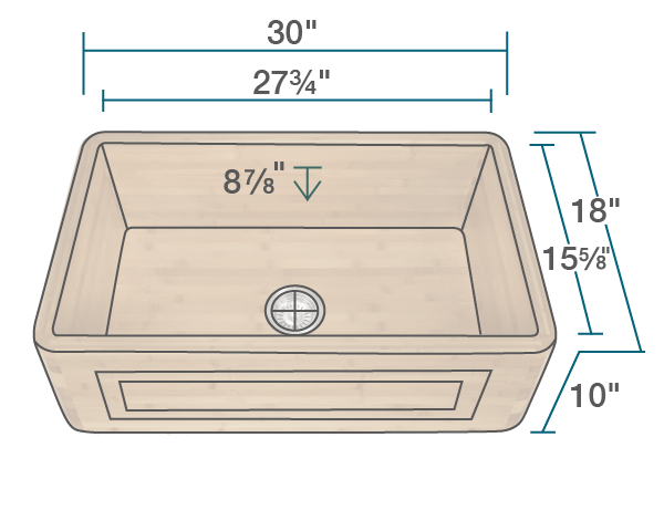 "The dimensions of 894 Single Bowl Bamboo Apron Sink is 30"" x 18"" x 10""."