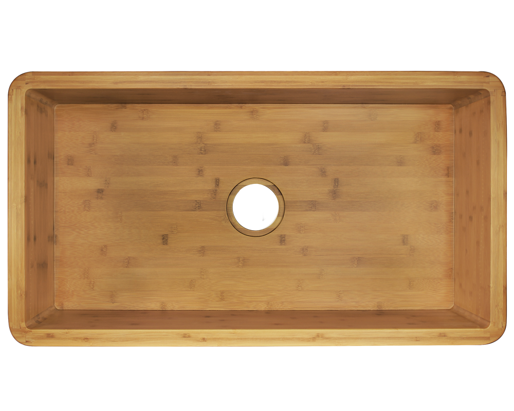 895 Alt Image: 100% Renewable Bamboo Rectangle Apron One Bowl Kitchen Sink