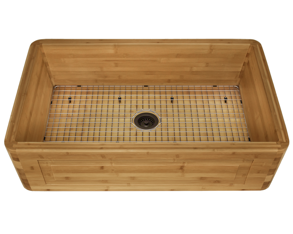 895 Alt Image: 100% Renewable Bamboo Rectangle One Bowl Apron Kitchen Sink