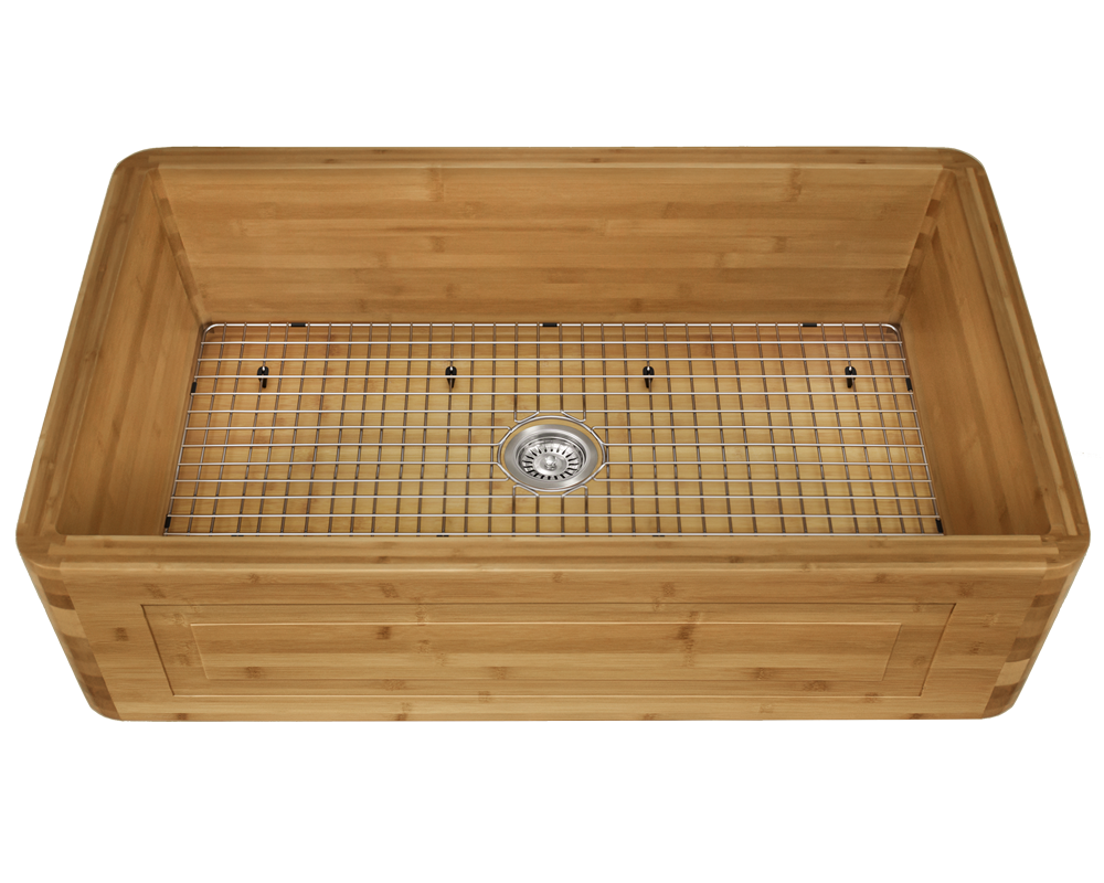 895 Alt Image: 100% Renewable Bamboo Apron Rectangle One Bowl Kitchen Sink