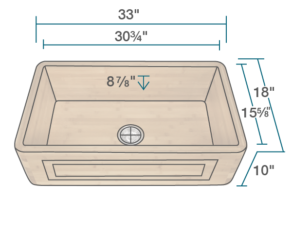 "The dimensions of 895 Single Bowl Bamboo Apron Sink is 33"" x 18"" x 10"". Its minimum cabinet size is 36""."