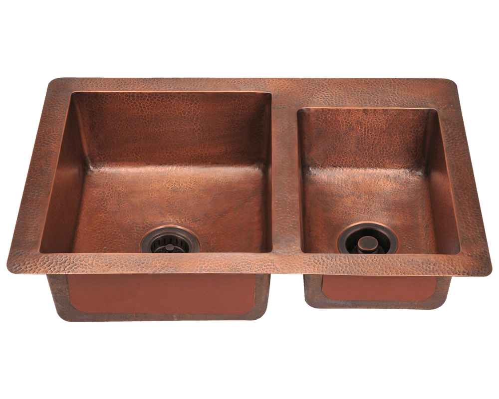 901 Double Offset Bowl Copper Sink