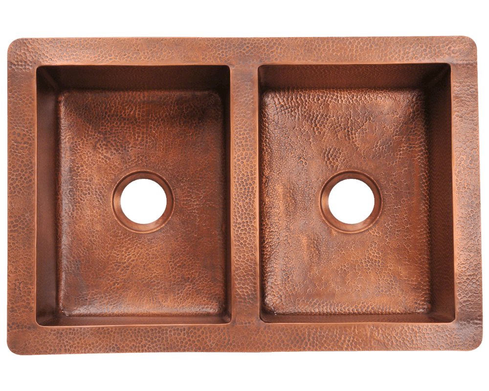 902 Alt Image: 99.9% Pure, Mined Copper Rectangle Undermount Natural Kitchen Sink