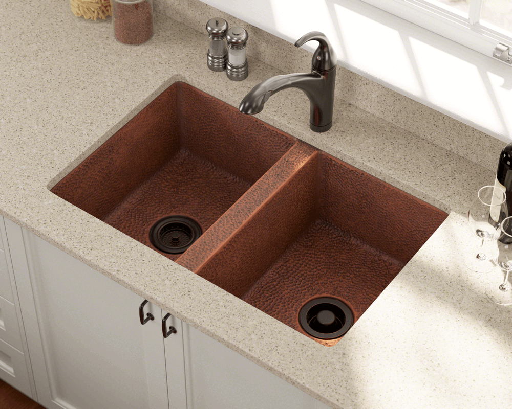 902 Lifestyle Image: 99.9% Pure, Mined Copper Rectangle Natural Undermount Kitchen Sink