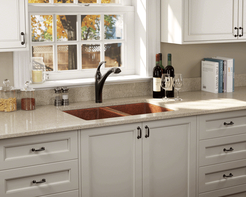 902 Lifestyle Image: 99.9% Pure, Mined Copper Rectangle Undermount Natural Kitchen Sink