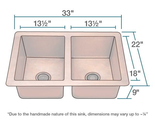 "The dimensions of 902 Equal Double Bowl Copper Sink is 33"" x 22"" x 9"". Its minimum cabinet size is 33""."