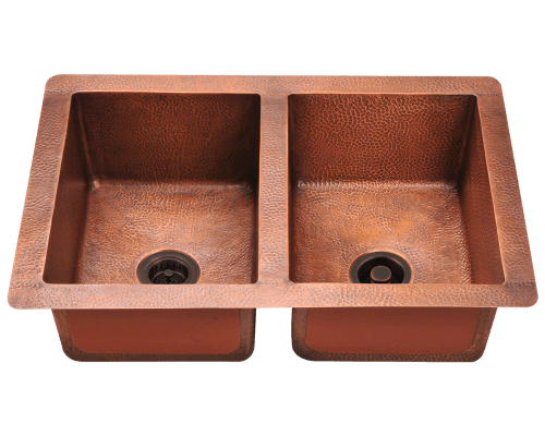 902 Equal Double Bowl Copper Sink