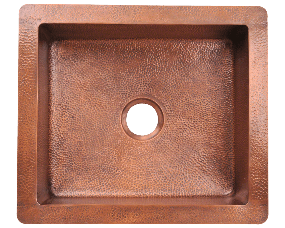 904 Alt Image: 99.9% Pure, Mined Copper Rectangle Undermount Natural Kitchen Sink