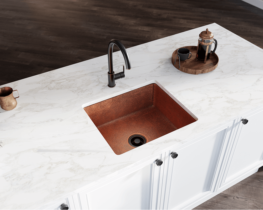 904 Lifestyle Image: 99.9% Pure, Mined Copper Natural Undermount Rectangle Kitchen Sink