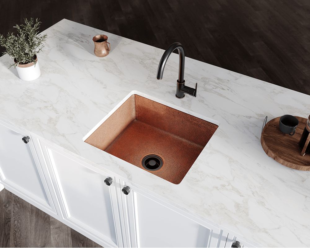 904 Lifestyle Image: 99.9% Pure, Mined Copper Rectangle Undermount Natural Kitchen Sink