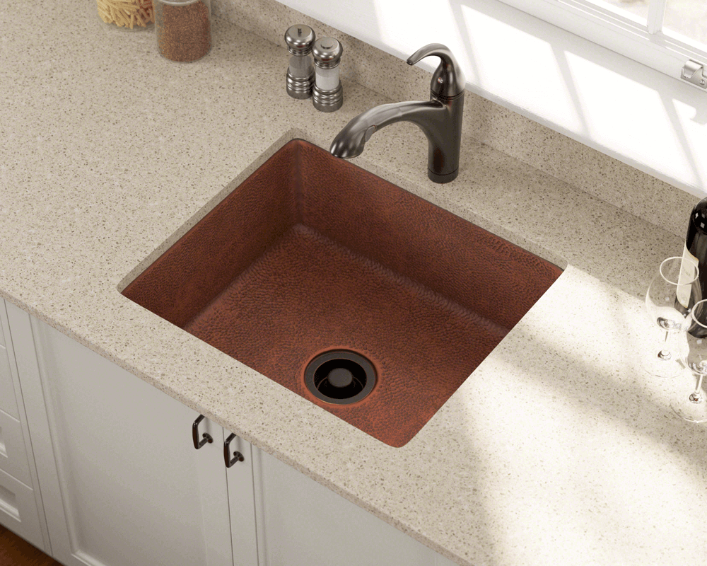 904 Lifestyle Image: 99.9% Pure, Mined Copper Undermount Rectangle Natural Kitchen Sink