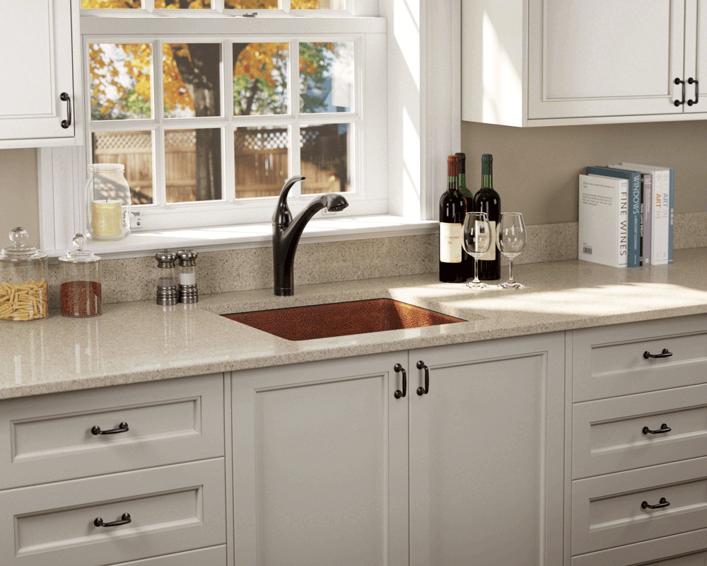 904 Lifestyle Image: 99.9% Pure, Mined Copper Undermount Natural Rectangle Kitchen Sink