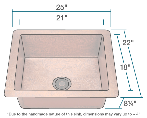 "The dimensions of 904 Single Bowl Copper Sink is 25"" x 22"" x 8 1/4"". Its minimum cabinet size is 24""."
