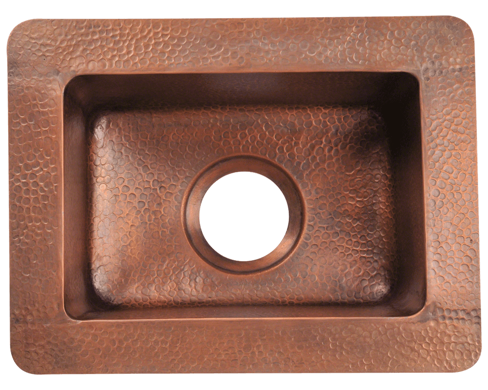 905 Alt Image: 99.9% Pure, Mined Copper Rectangle Undermount Natural Kitchen Sink