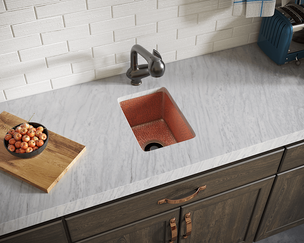 905 Lifestyle Image: 99.9% Pure, Mined Copper Rectangle Undermount Natural Kitchen Sink