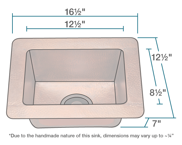 "The dimensions of 905 Small Single Bowl Copper Sink is 16 1/2"" x 12 1/2"" x 7"". Its minimum cabinet size is 18""."