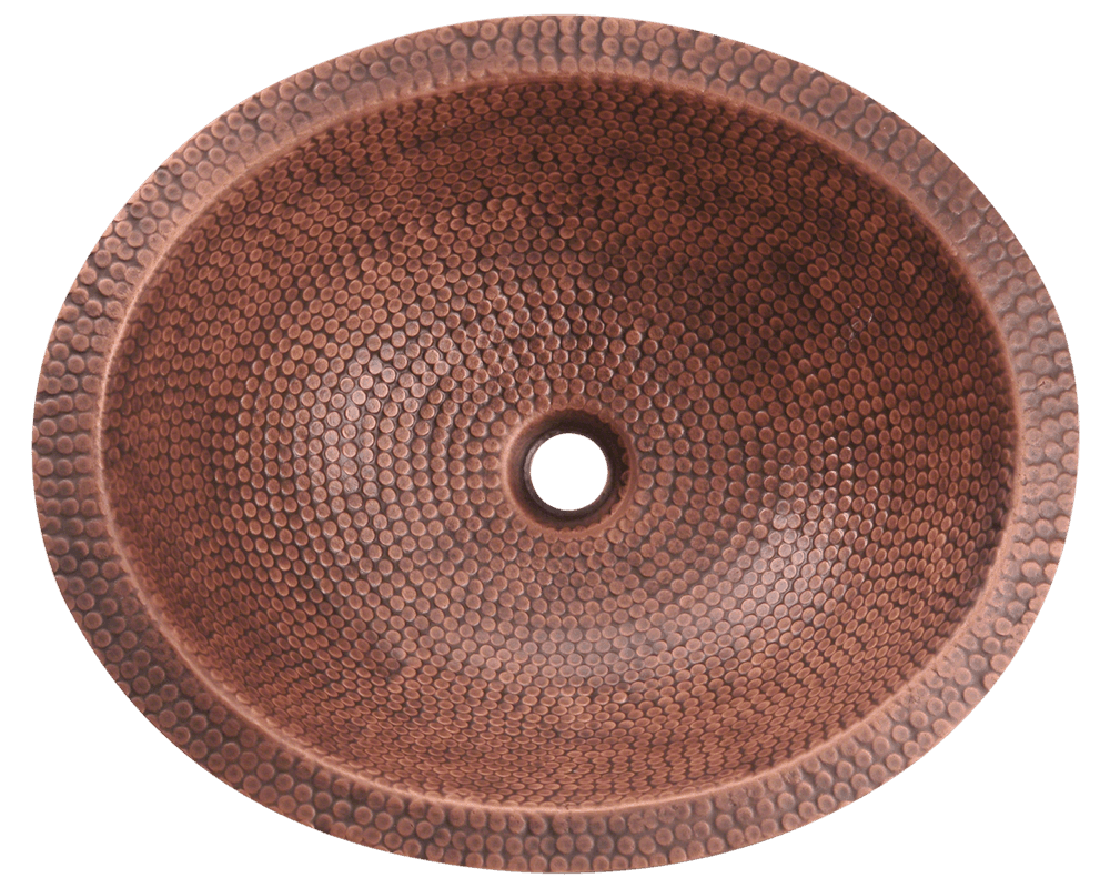 910 Alt Image: 99.9% Pure, Mined Copper Round /Topmount Natural Bathroom Sink