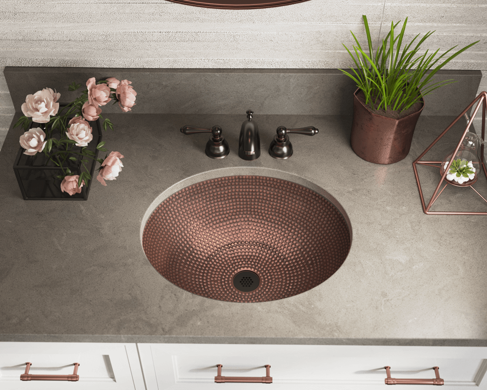 910 Lifestyle Image: 99.9% Pure, Mined Copper Round Natural /Topmount Bathroom Sink