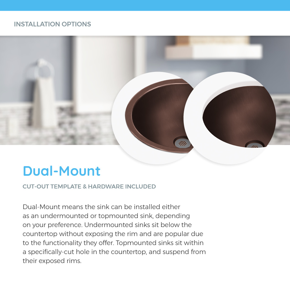 Examples of dual-mount copper sink options