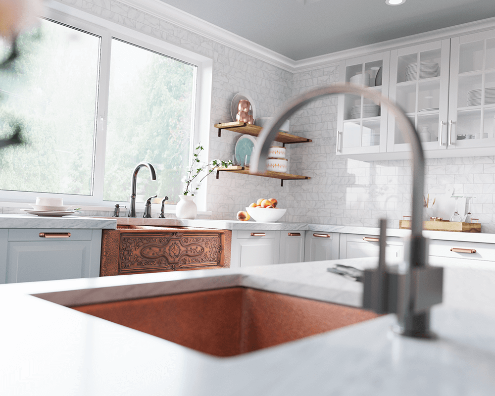 911 Lifestyle Image: 99.9% Pure, Mined Copper Rectangle Natural Apron Kitchen Sink