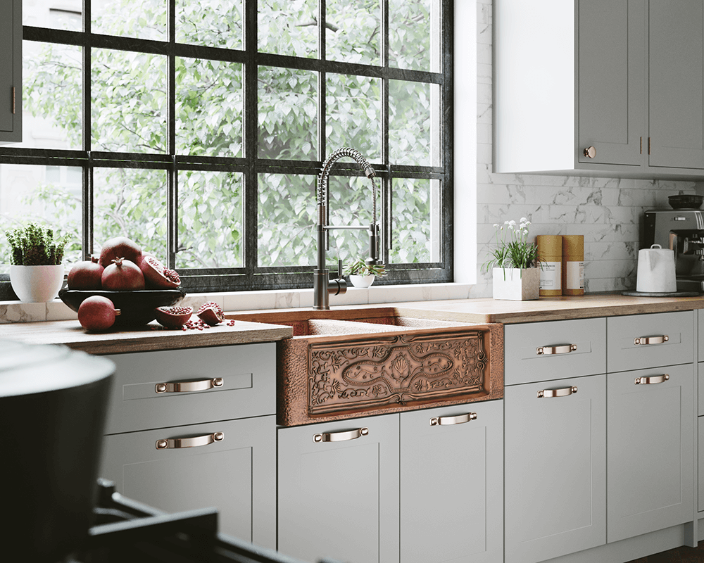 911 Lifestyle Image: 99.9% Pure, Mined Copper Apron Natural Rectangle Kitchen Sink