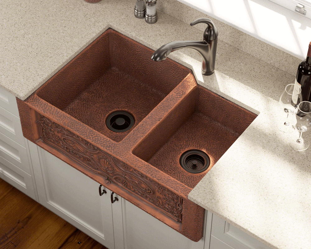 911 Lifestyle Image: 99.9% Pure, Mined Copper Natural Rectangle Apron Kitchen Sink