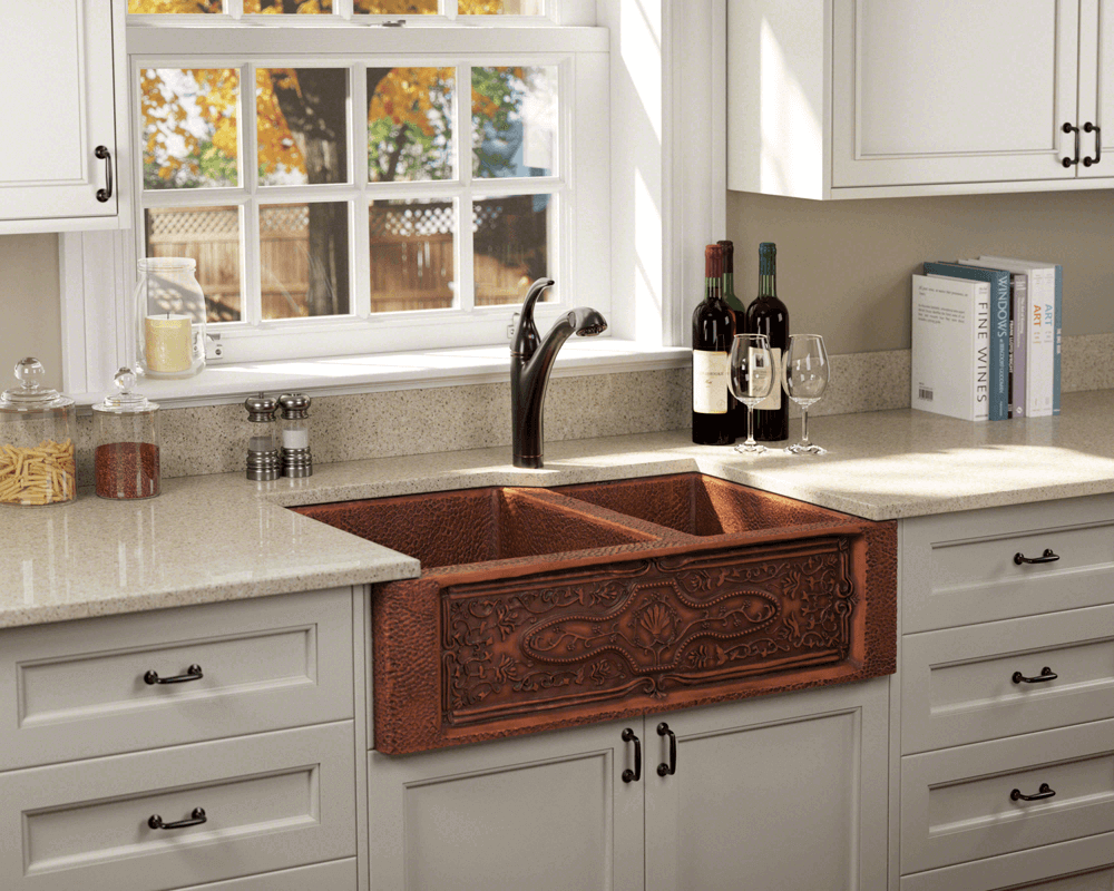 911 Lifestyle Image: Rectangle 99.9% Pure, Mined Copper Apron Natural Kitchen Sink