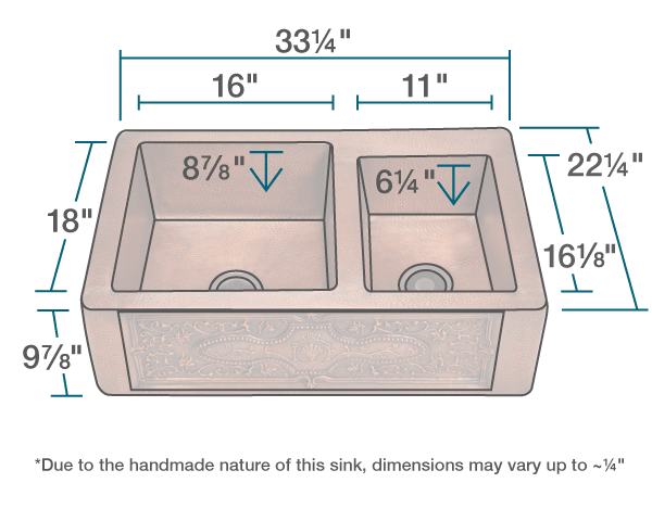 "The dimensions of 911 Offset Double Bowl Copper Apron Sink is 33 1/4"" x 22 1/4"" x 9 7/8"". Its minimum cabinet size is 36""."
