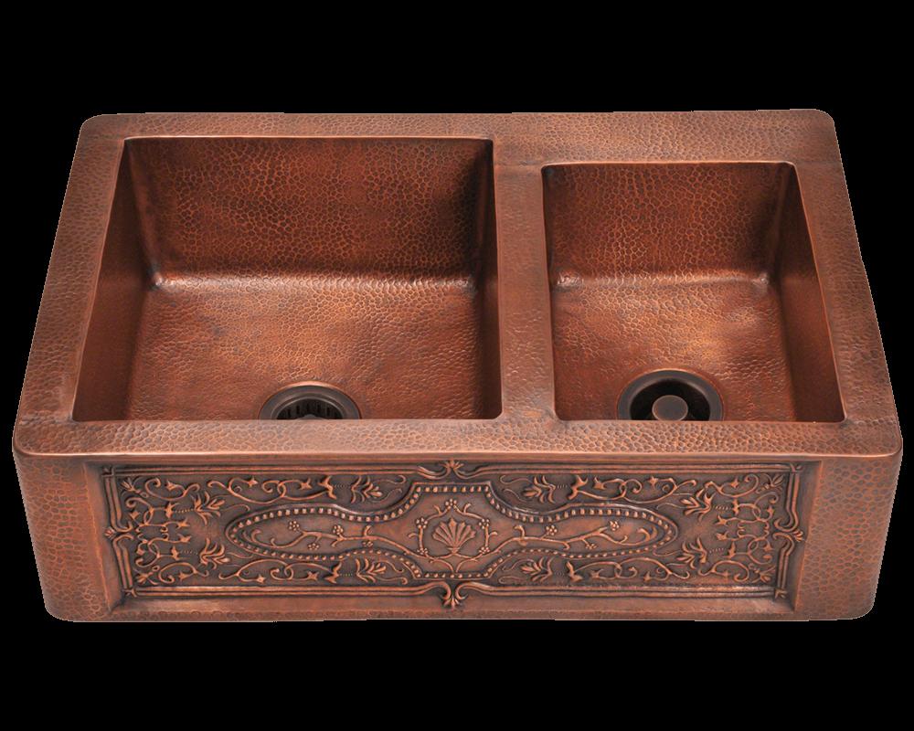 Copper Kitchen Sink Faucet 911 Double Offset Bowl Copper Apron Sink