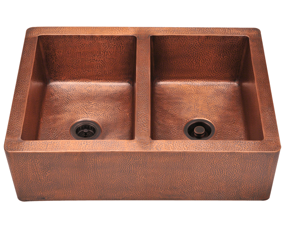 Bathroom faucets for bowl sinks - 912 Equal Double Bowl Copper Apron Sink