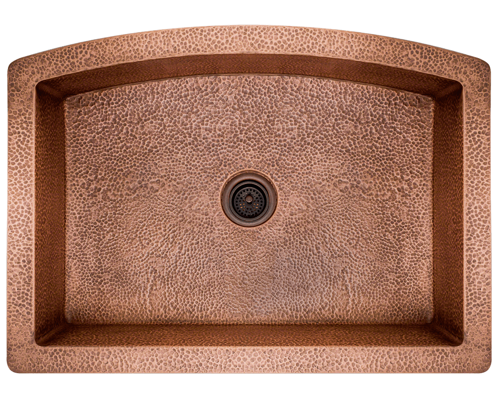 914 Alt Image: 99.9% Pure, Mined Copper Rectangle Apron Natural Kitchen Sink