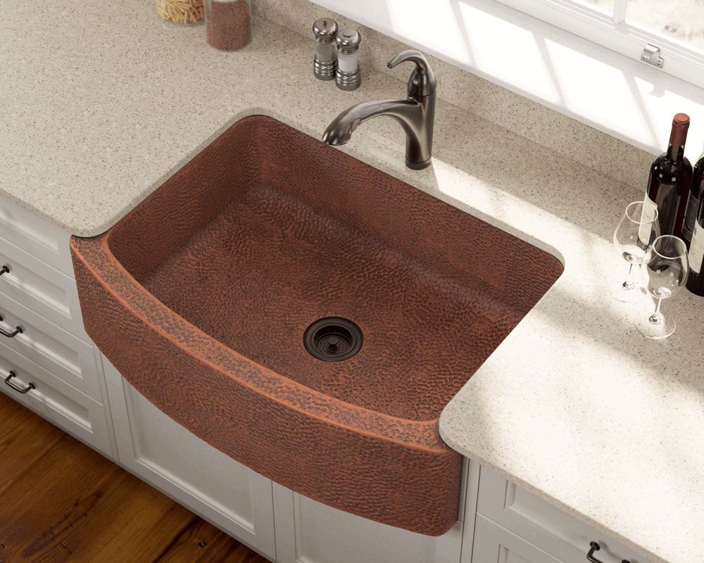 914 Lifestyle Image: 99.9% Pure, Mined Copper Apron Rectangle Natural Kitchen Sink