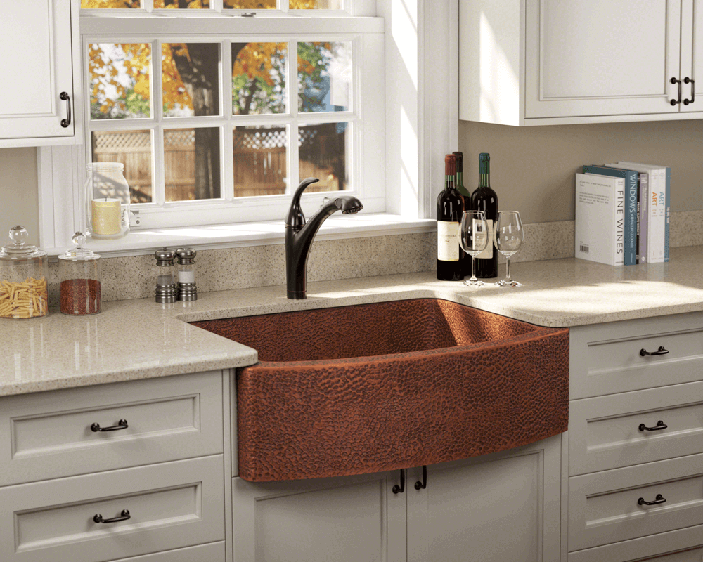 914 Lifestyle Image: 99.9% Pure, Mined Copper Apron Natural Rectangle Kitchen Sink