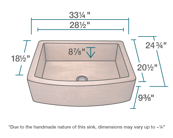 "The dimensions of 914 Single Bowl Copper Apron Sink is 33 1/4"" x 24 3/4"" x 9 3/8"". Its minimum cabinet size is 36""."