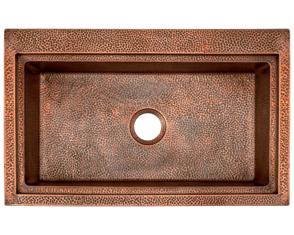 915 Alt Image: 99.9% Pure, Mined Copper Rectangle /Topmount Natural Kitchen Sink