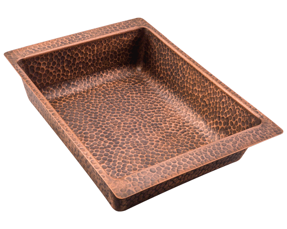 915 Alt Image: 99.9% Pure, Mined Copper /Topmount Natural Rectangle Kitchen Sink
