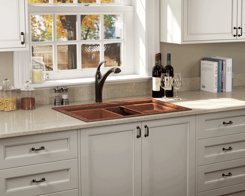 915 Lifestyle Image: 99.9% Pure, Mined Copper Rectangle /Topmount Natural Kitchen Sink
