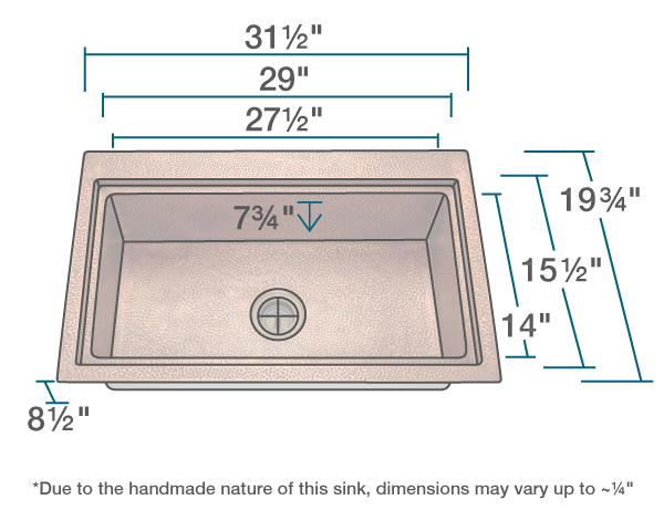 "The dimensions of 915 Single Bowl Dual-Mount Copper Sink is 31 1/2"" x 19 3/4"" x 8 1/2"". Its minimum cabinet size is 33""."