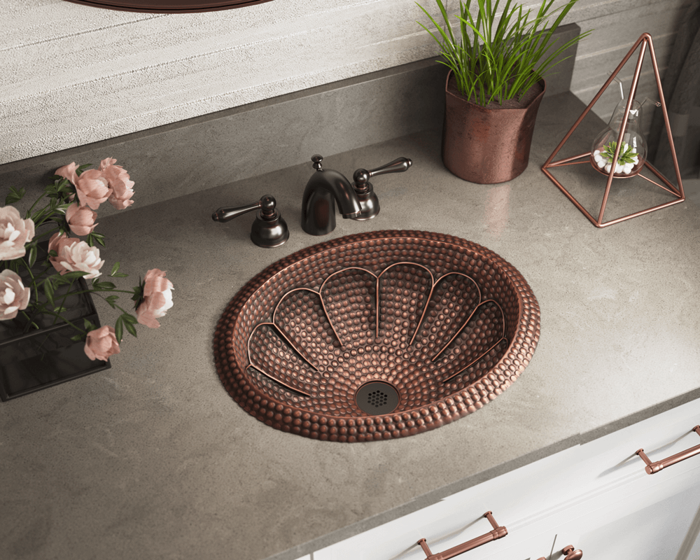 921 Lifestyle Image: 99.9% Pure, Mined Copper Round Natural Topmount Bathroom Sink