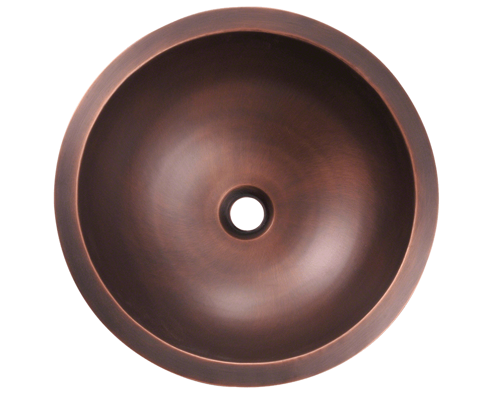 922 Alt Image: 99.9% Pure, Mined Copper Round /Topmount Natural Bathroom Sink