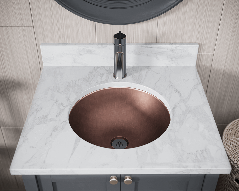 922 Lifestyle Image: 99.9% Pure, Mined Copper Round Natural /Topmount Bathroom Sink