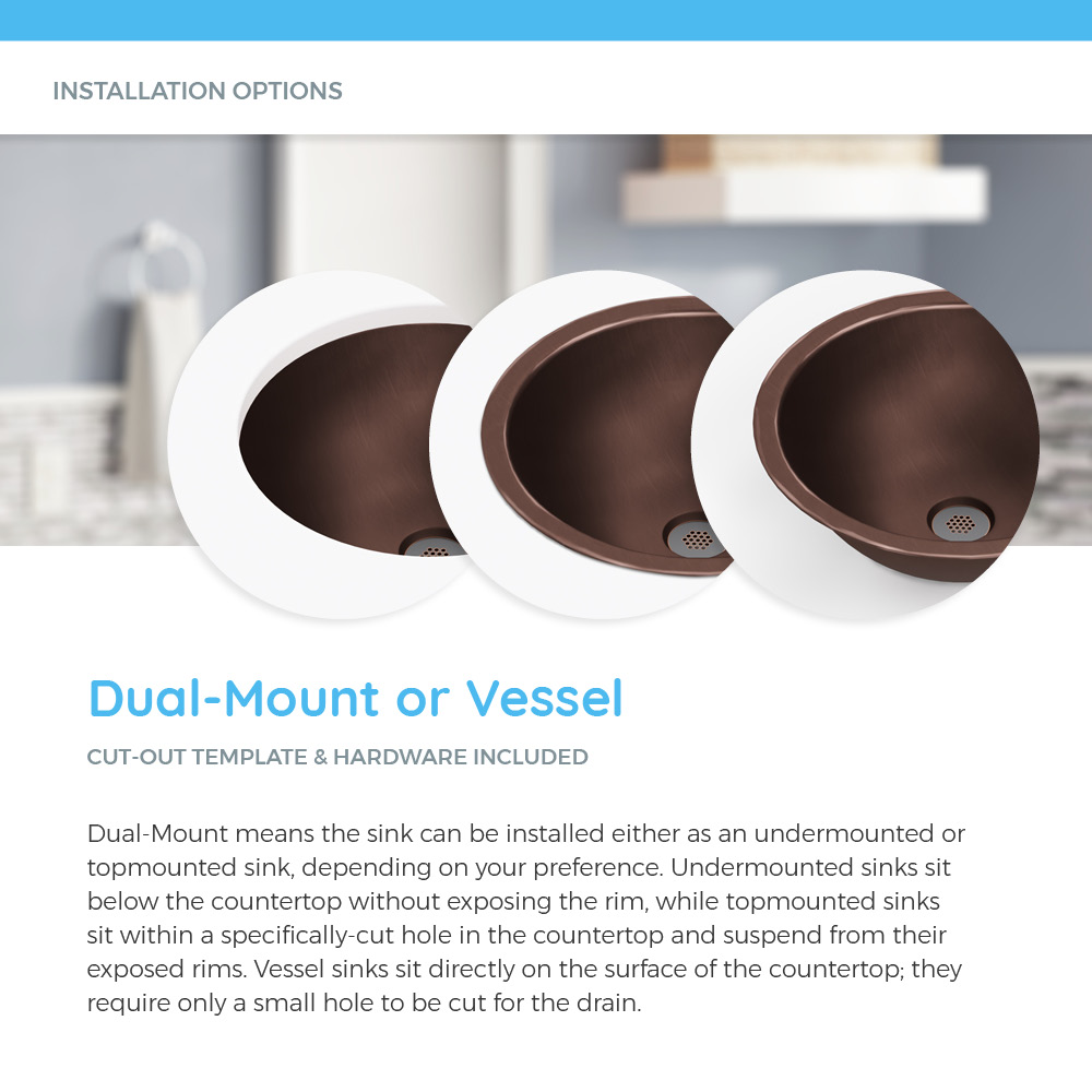 Dual-mount or vessel copper sink