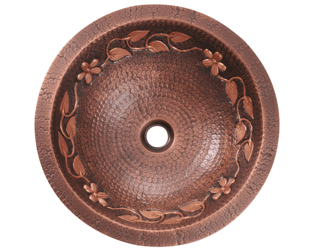 923 Alt Image: 99.9% Pure, Mined Copper Round /Vessel Natural Bathroom Sink