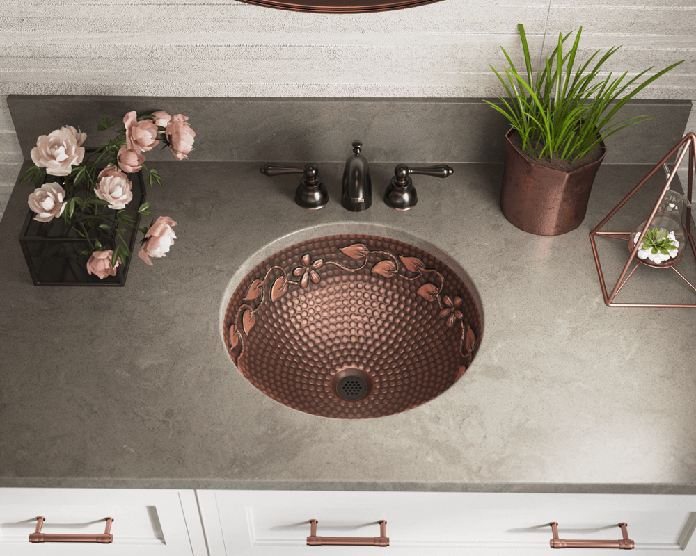 923 Lifestyle Image: 99.9% Pure, Mined Copper Round Natural /Vessel Bathroom Sink