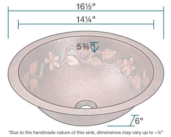 "The dimensions of 923 Single Bowl Copper Bathroom Sink is 16 1/2"" x 16 1/2"" x 6"". Its minimum cabinet size is 18""."