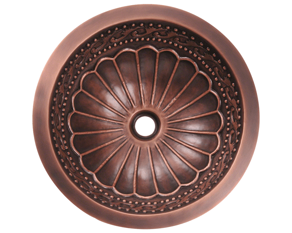 924 Alt Image: 99.9% Pure, Mined Copper Round /Undermount Natural Bathroom Sink